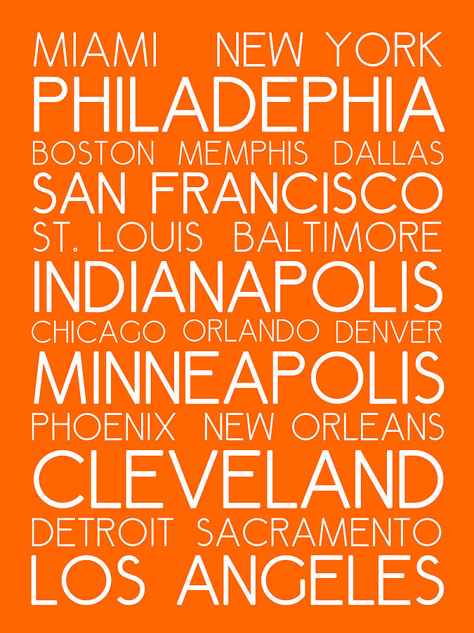 American Cities In Bus Roll Destination Map Style Poster - Orange Painting