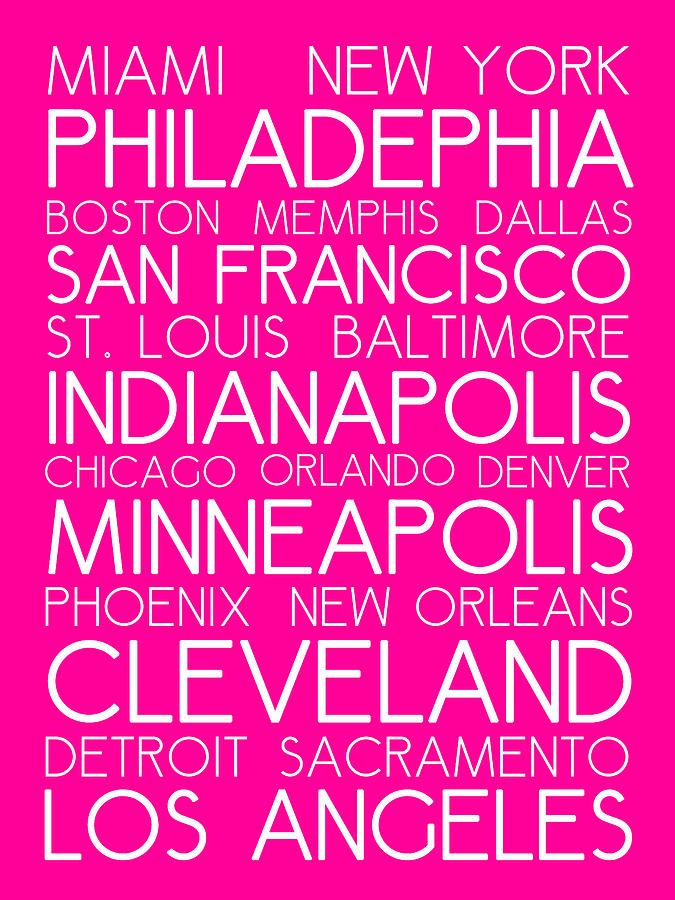 American Cities In Bus Roll Destination Map Style Poster - Pink Painting