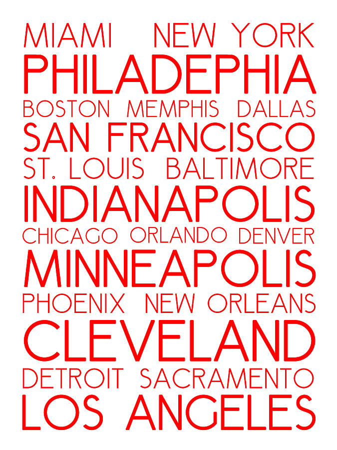American Cities In Bus Roll Destination Map Style Poster - White-red Digital Art