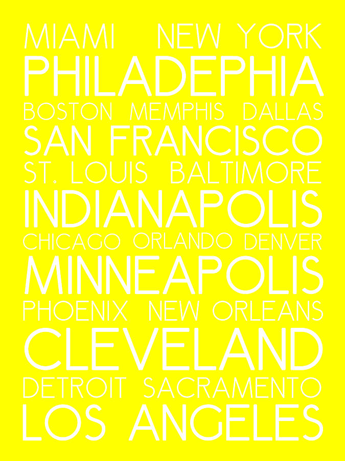 American Cities In Bus Roll Destination Map Style Poster - Yellow Digital Art