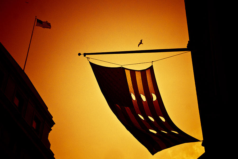 Flags Photograph - American City Sunset by Andrew Kubica