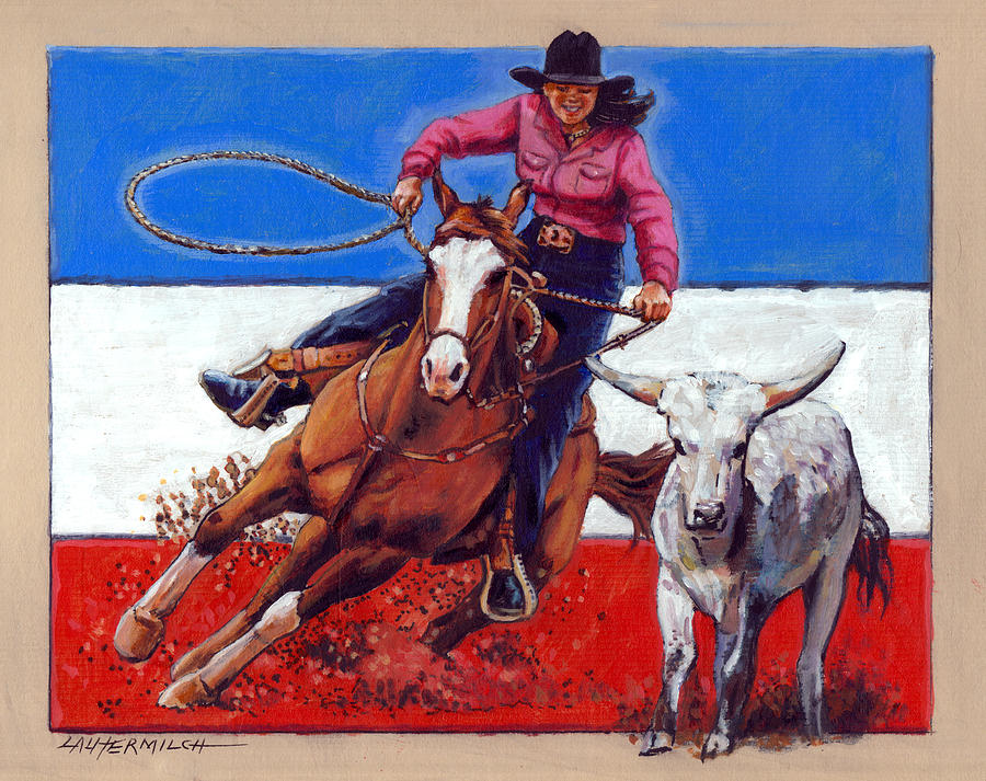 American Cowgirl Painting - American Cowgirl by John Lautermilch