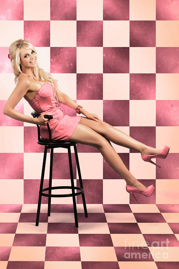 1950 Photograph - American Culture Pin Up Girl Inside 60s Retro Diner by Jorgo Photography - Wall Art Gallery