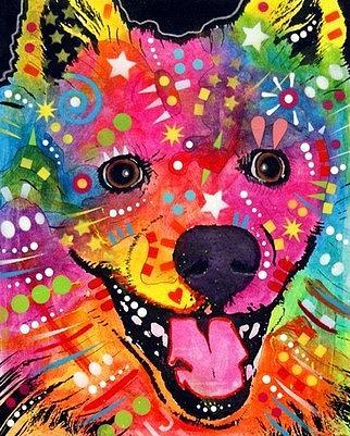 dean Russo Painting Dog Dogs Portrait Graffiti pop Art Pet american Eskimo Pop Pets Painting - American Eskimo Dog by Dean Russo