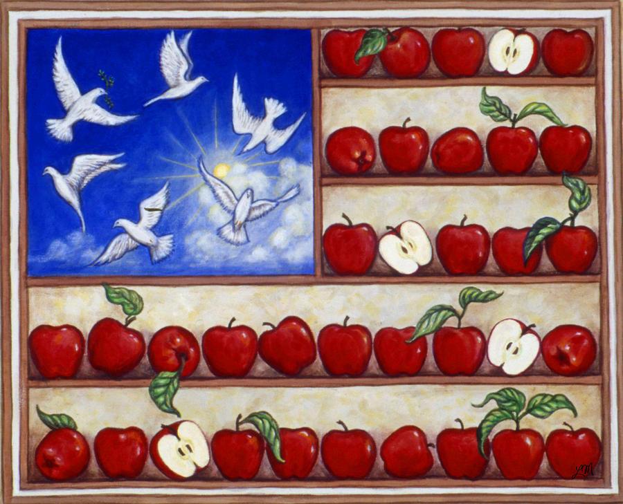 Apples Painting - American Fantasy by Linda Mears