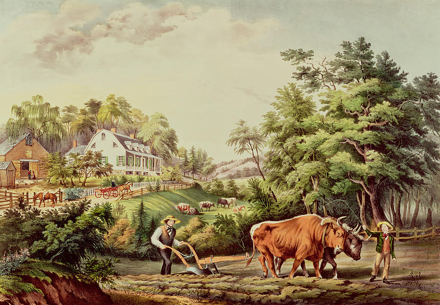 American Painting - American Farm Scenes by Currier and Ives
