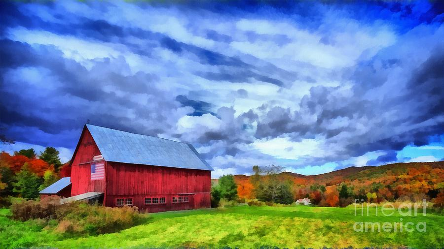 Red Painting - American Farmer by Edward Fielding