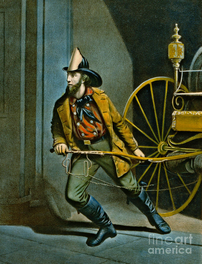 Blue Photograph - American Fireman 1858 by Padre Art