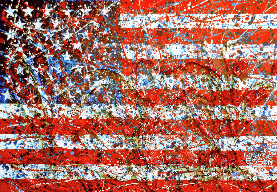 American Flag Mixed Media - American Flag Abstract 2 With Trees  by Genevieve Esson