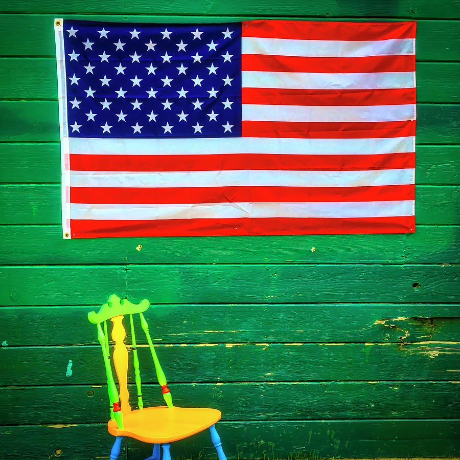 Wood Photograph   American Flag And Colorful Chair By Garry Gay