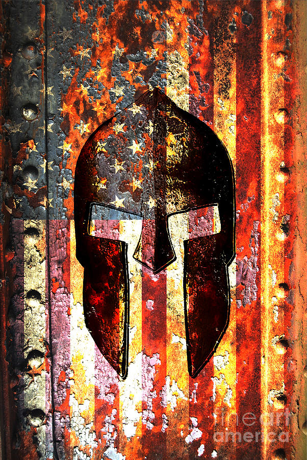 American Flag And Spartan Helmet On Rusted Metal Door - Molon Labe by M L C