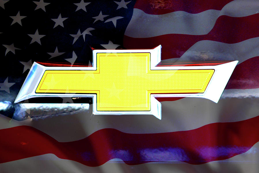 American Flag Chevy Bowtie by Katy Hawk