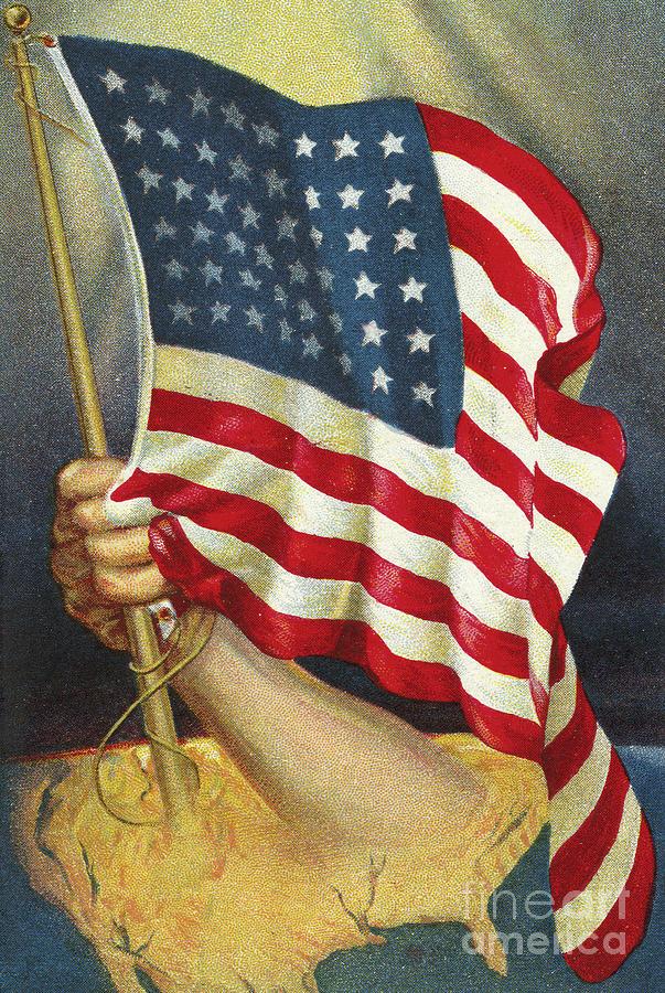 American Flag Emerging From America Drawing By American School