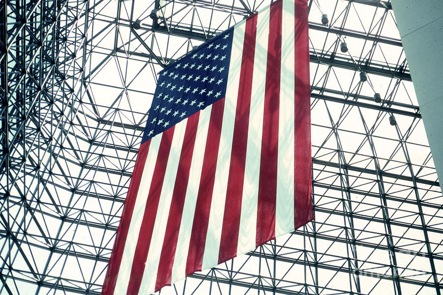 Flag Photograph - American Flag In Kennedy Library Atrium - 1982 by Thomas Marchessault