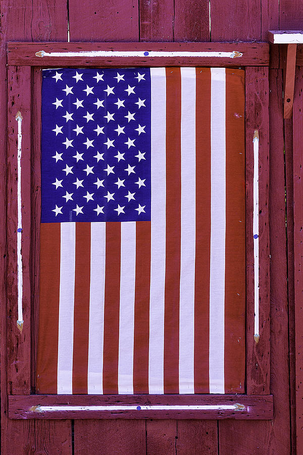 Wood Photograph - American Flag In Red Window by Garry Gay