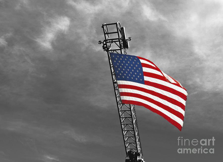 American Flag Photograph - American Flag On A Fire Truck Ladder by Mark Hendrickson