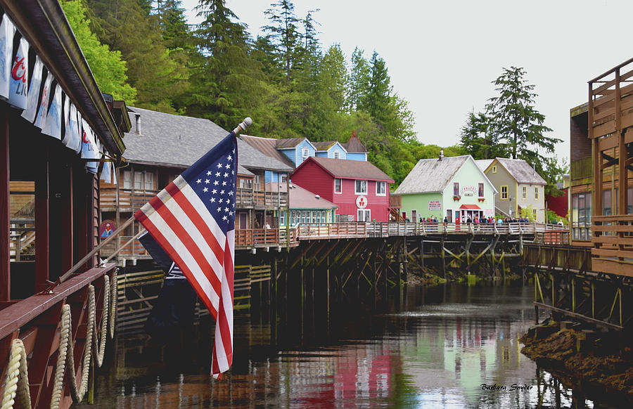 Barbara Snyder Photograph - American Flag On Creek Street Ketchikan Alaska by Barbara Snyder