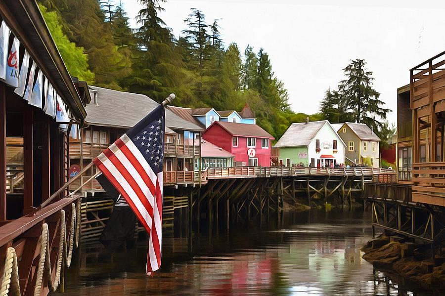 Barbara Snyder Photograph - American Flag On Creek Street Ketchikan Alaska Painting by Barbara Snyder