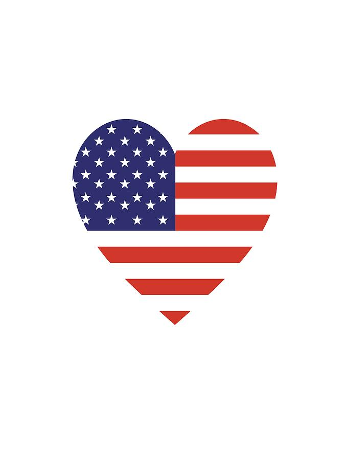 American flag simple. Usa heart stars and