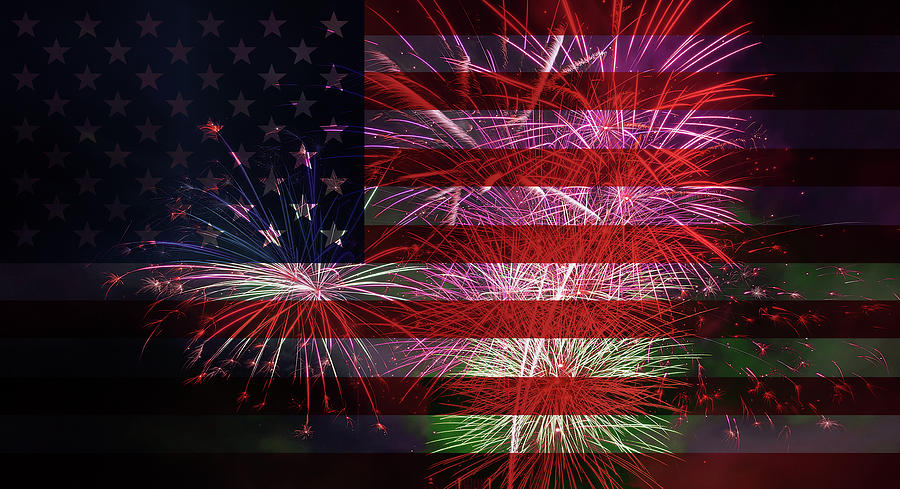 Usa Photograph - American Flag With Fireworks Display by David Gn