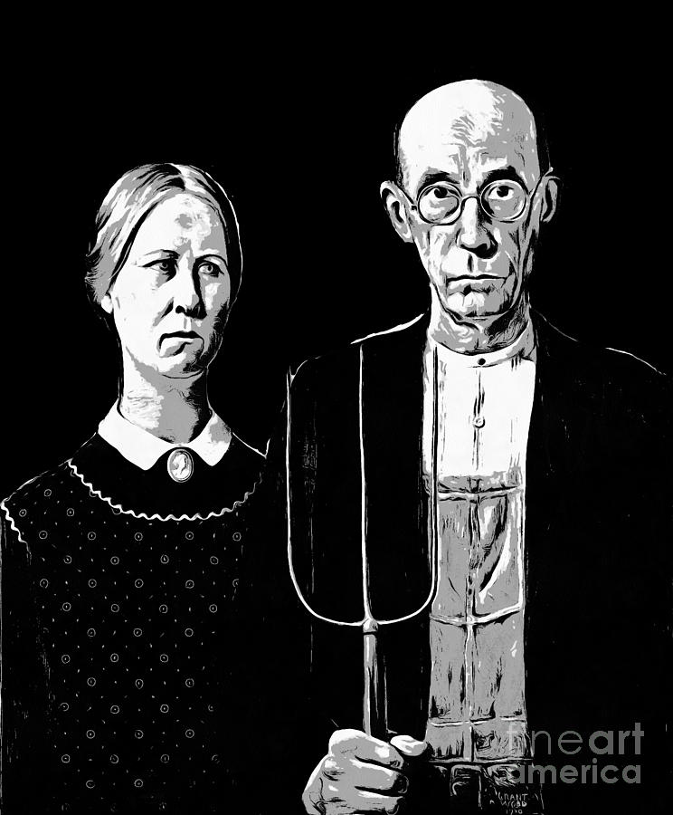 Tee digital art american gothic graphic grant wood black white tee by edward fielding