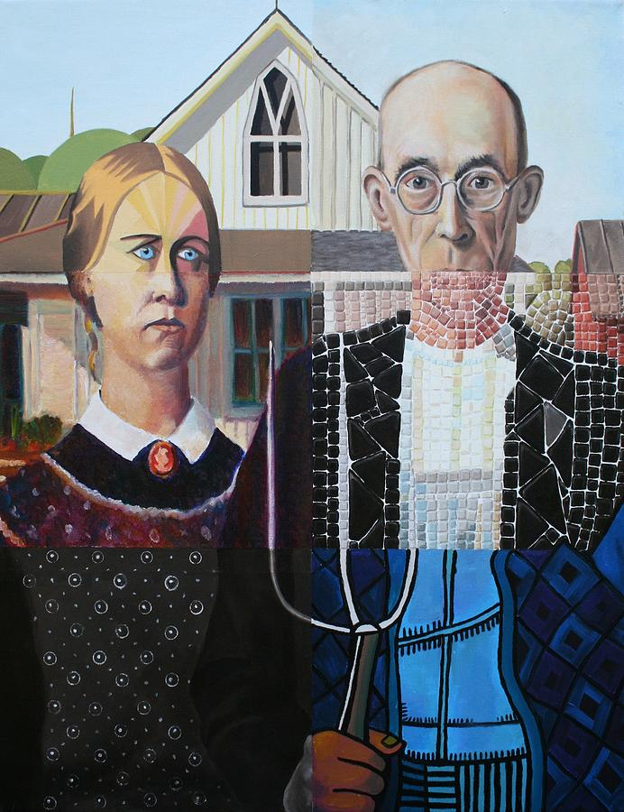 American Gothic Painting - American Gothic In Six Styles by Katherine Huck Fernie Howard
