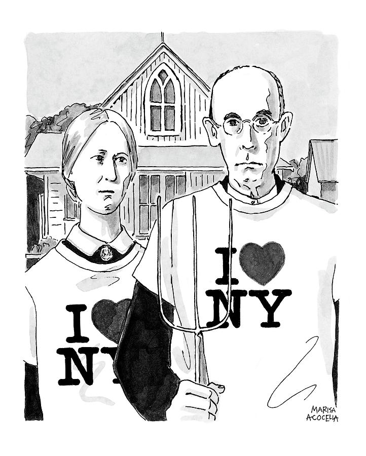 American Gothic Drawing by Marisa Acocella Marchetto