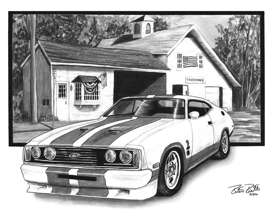 Hot Rod Drawing - American Heartland by Peter Piatt