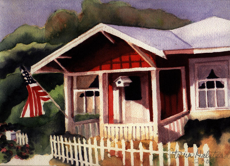Watercolor Painting - American Home by Patricia Halstead