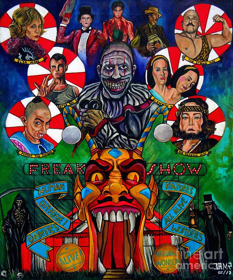 American Horror Story Painting - American Horror Story Freak Show by Jose Mendez