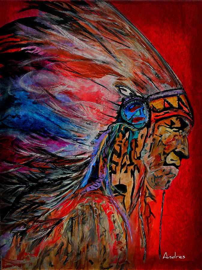 American Indian Painting - American Indian by Andres Gonzalez