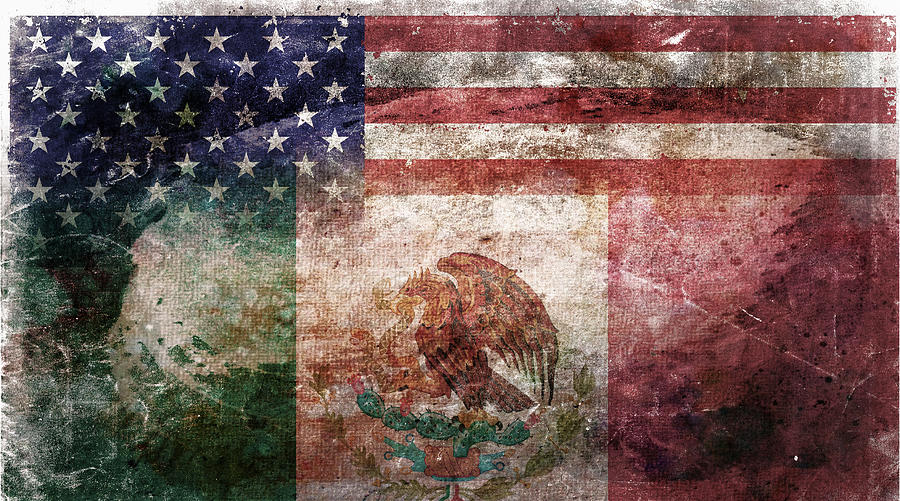 Composite Digital Art - American Mexican Tattered Flag  by Az Jackson