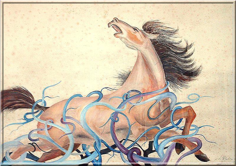 American Mustang Painting by Announi Abdelali