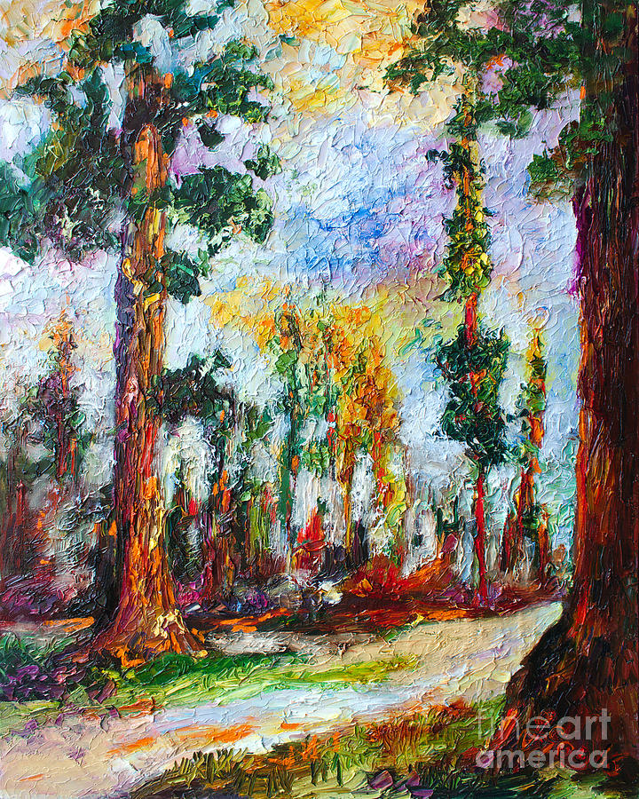 American National Parks Redwood Trees Painting by Ginette Callaway