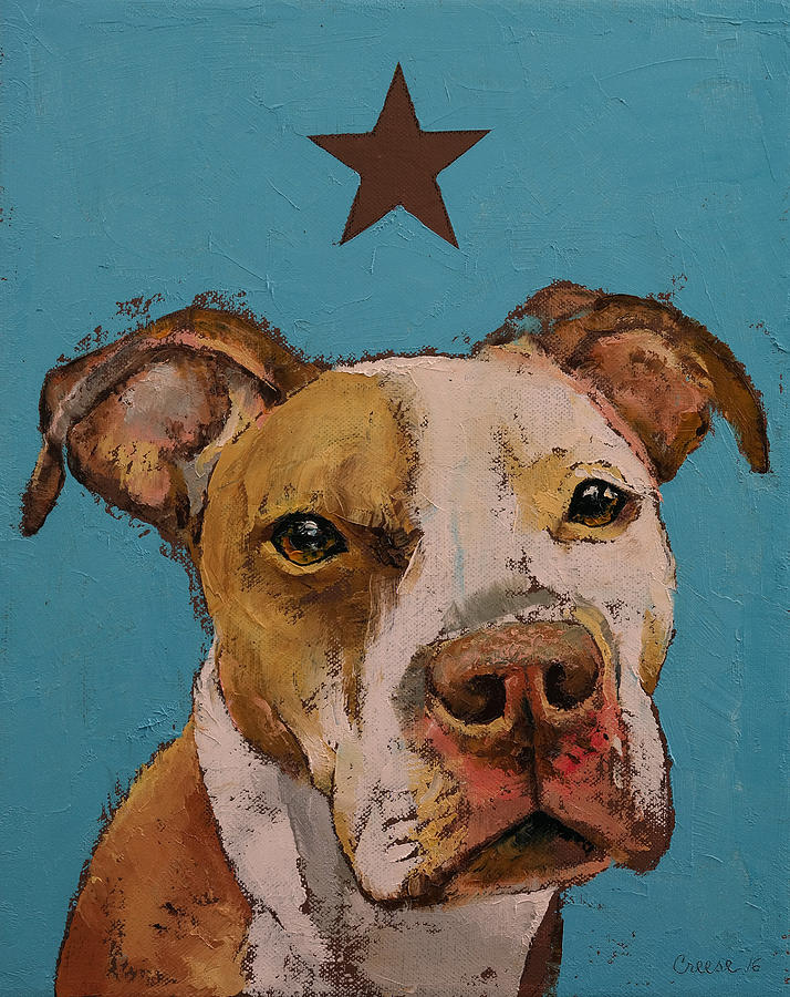 Dog Painting - American Pit Bull by Michael Creese
