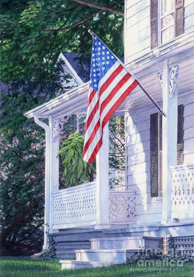 Flag Painting - American Porch by Gloria Johnson