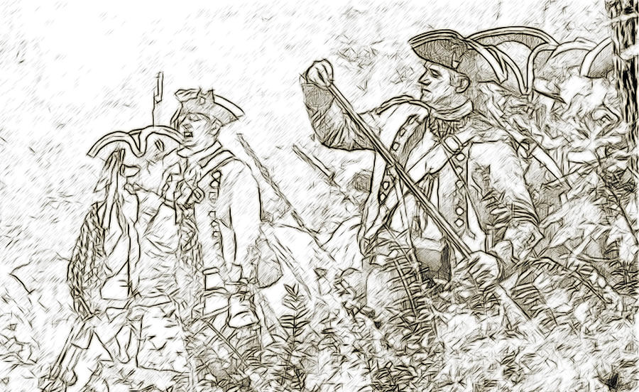Uniform Digital Art - American Revolution Battle Sketch by Randy Steele