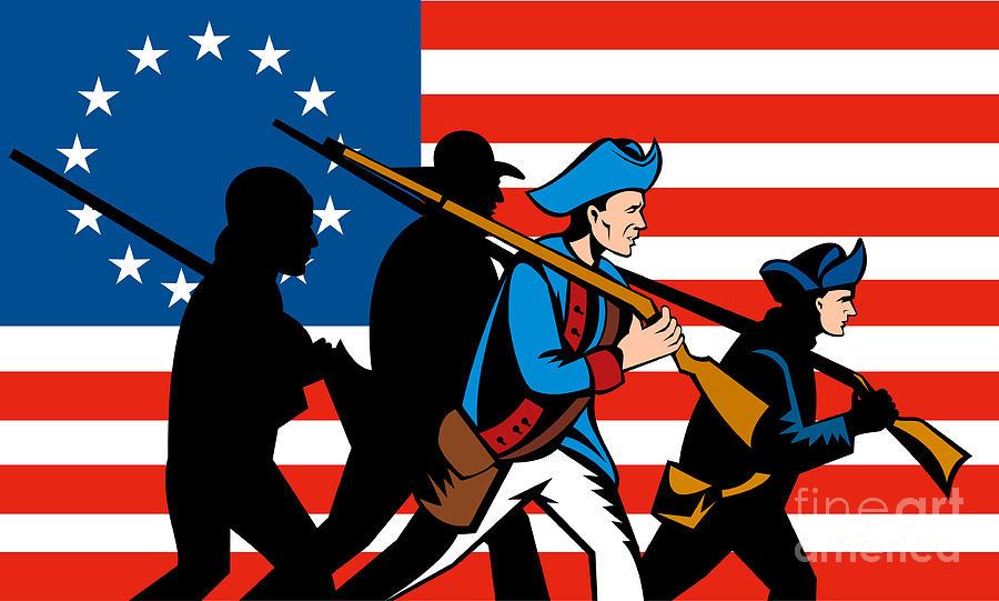 American Revolution Digital Art - American Revolutionary Soldier Marching by Aloysius Patrimonio