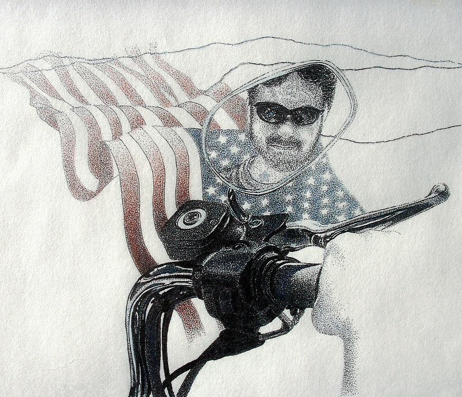 American Rider Drawing by Tony Ruggiero