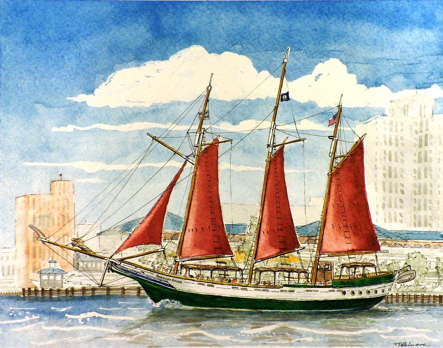 Ship Painting - American Rover at Waterside by Vic Delnore