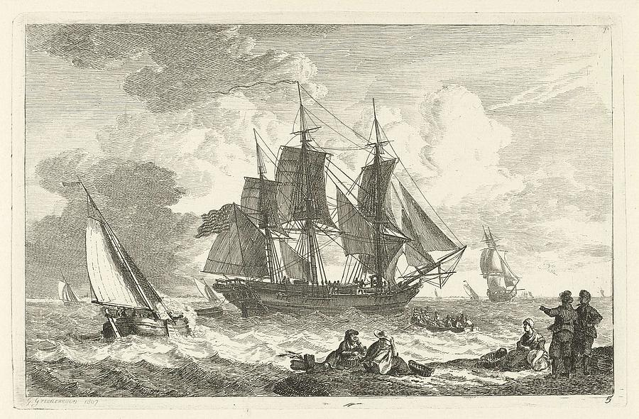 American Ship In Troubled Waters Painting