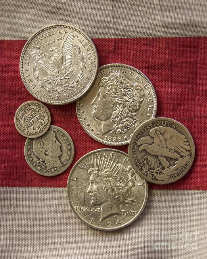 Silver Coin Photograph - American Silver Coins by Randy Steele