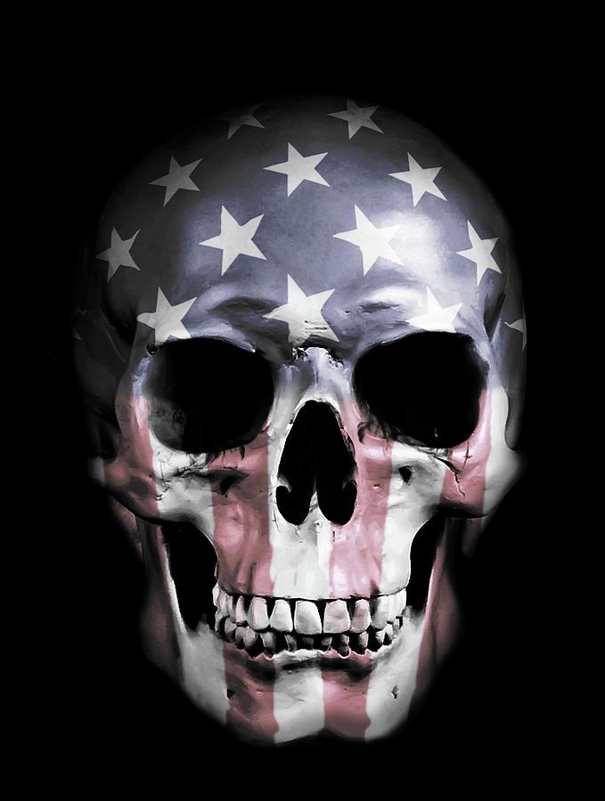 Skull Mixed Media - American Skull by Nicklas Gustafsson