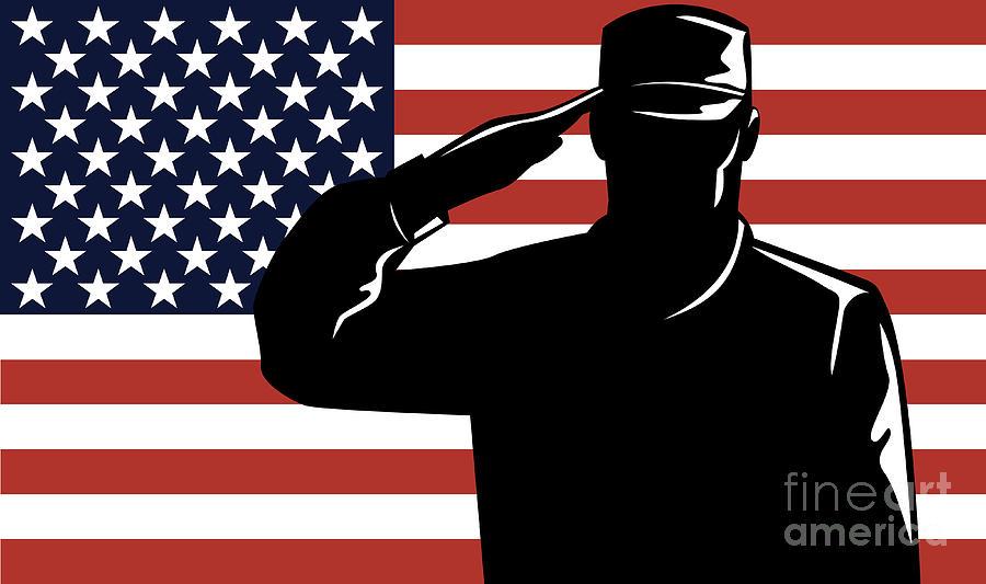 Serviceman Digital Art - American Soldier Salute by Aloysius Patrimonio
