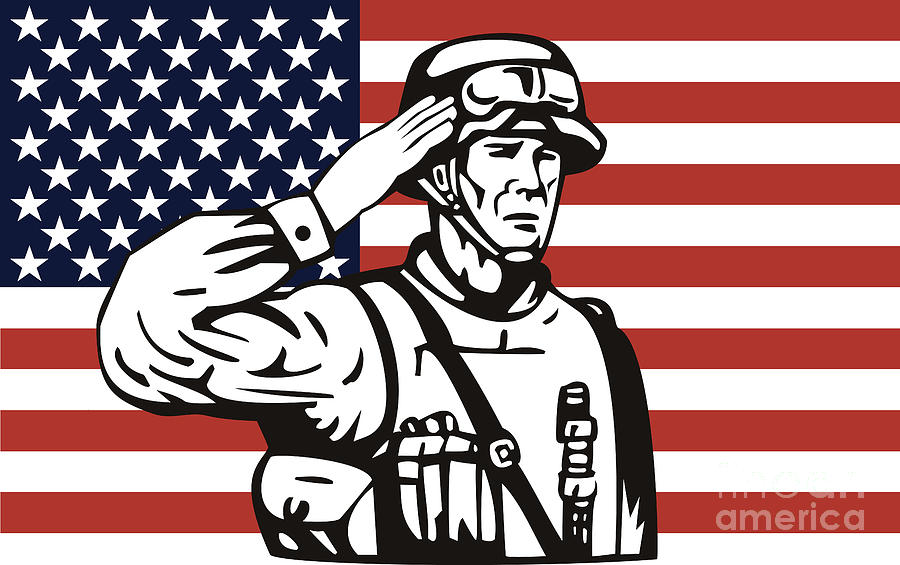 Illustration Digital Art - American Soldier Saluting Flag by Aloysius Patrimonio