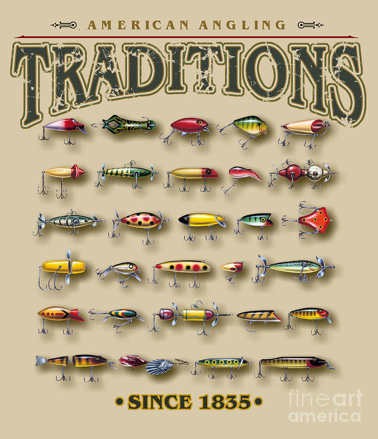 Jon Q Wright Painting - American Traditions lures by JQ Licensing