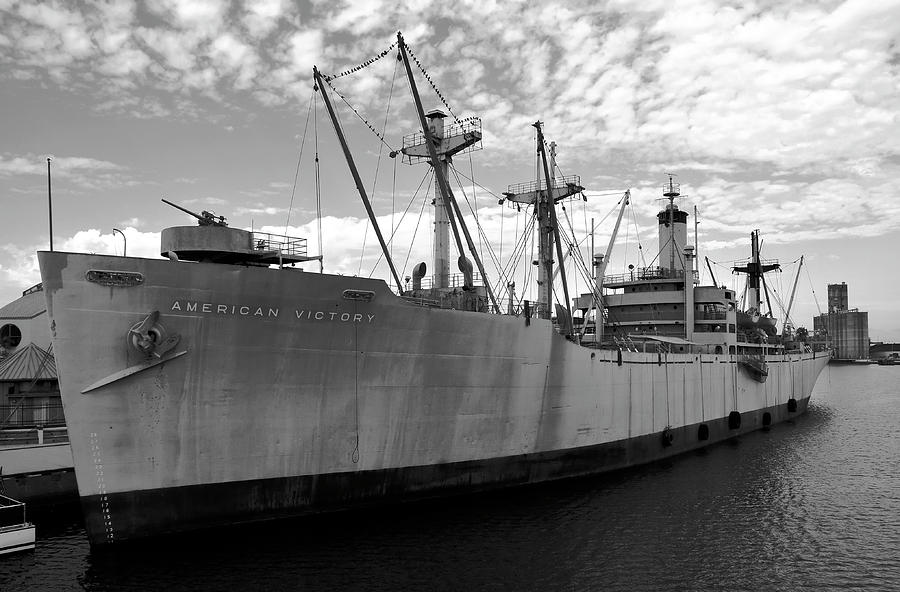 Black And White Photograph - American Victory Ship Tampa Bay by David Lee Thompson