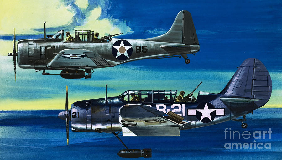 Aircraft Painting - American WW2 Planes Douglas SBD1 Dauntless and Curtiss SB2C1 Helldiver by Wilf Hardy