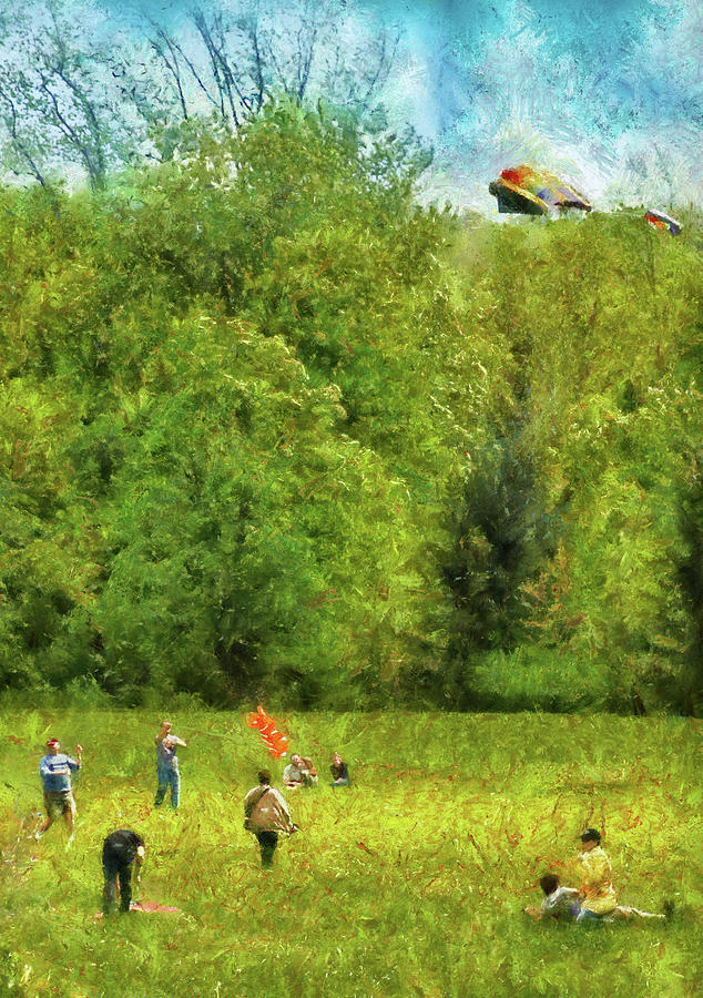 Savad Photograph - Americana - People - Lets Go Fly A Kite by Mike Savad