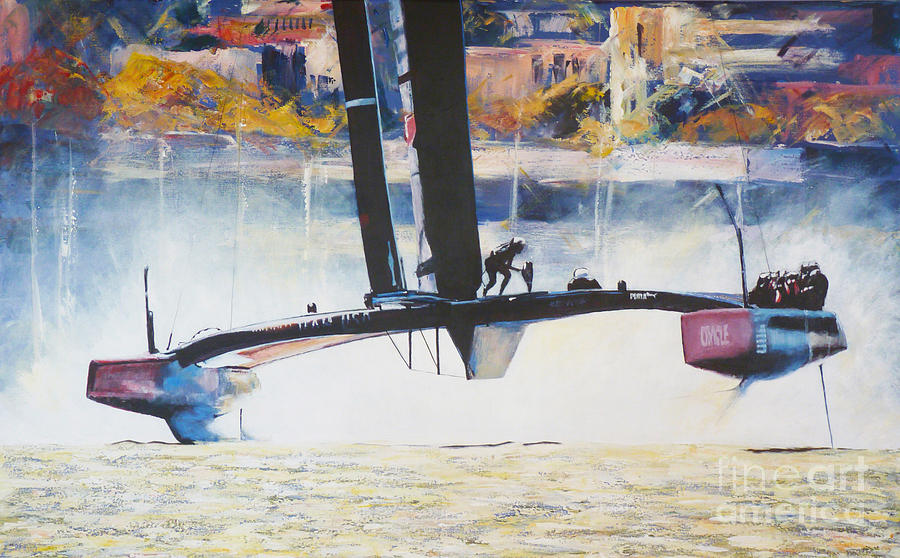 America's Cup Painting - Americas Cup 2013 Series IIi by Anna Duckworth